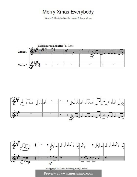 Merry Xmas Everybody (Slade): Für zwei Klarinetten by James Lea, Noddy Holder