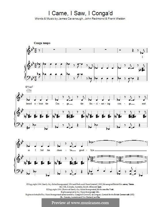 I Came, I Saw, I Conga'd (Celia Lipton): Für Stimme und Klavier (oder Gitarre) by Frank Weldon, James Cavanaugh, John Redmond