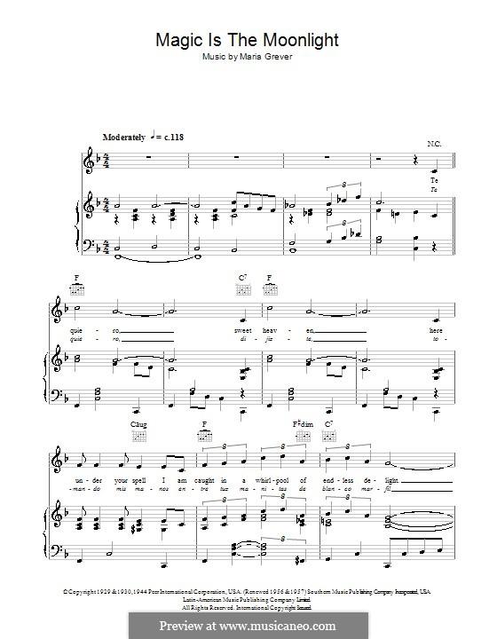 Magic Is the Moonlight (Te Quiero Dijiste): Für Stimme und Klavier (oder Gitarre) by Maria Grever