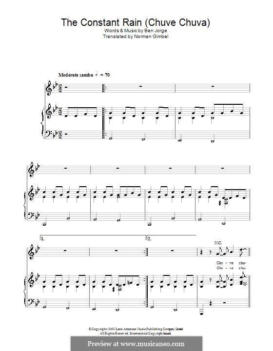 The Constant Rain (Chuve Chuva): Für Stimme und Klavier (oder Gitarre) by Sergio Mendes