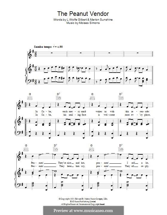 The Peanut Vendor: Für Stimme und Klavier (oder Gitarre) by Dean Martin