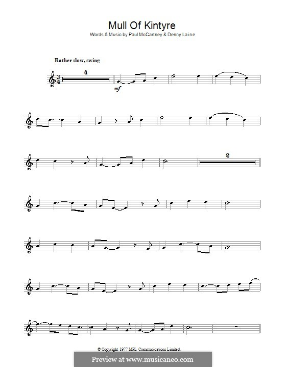 Mull of Kintyre (Wings): Für Klarinette by Denny Laine, Paul McCartney