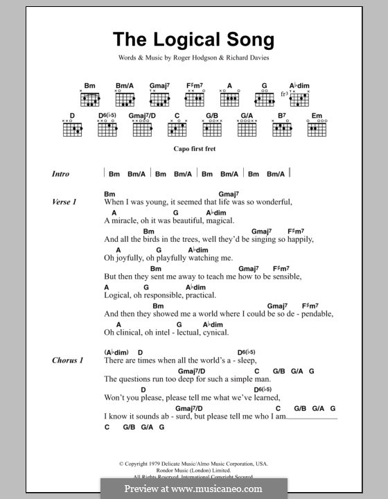 The Logical Song (Supertramp): Text und Akkorde by Rick Davies, Roger Hodgson