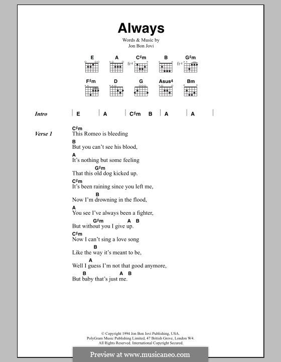 Always (Bon Jovi): Text und Akkorde by Jon Bon Jovi