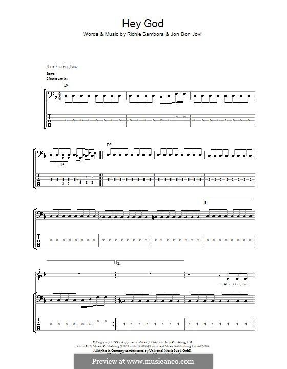 Hey God (Bon Jovi): Für Bassgitarre mit Tabulatur by Jon Bon Jovi, Richie Sambora
