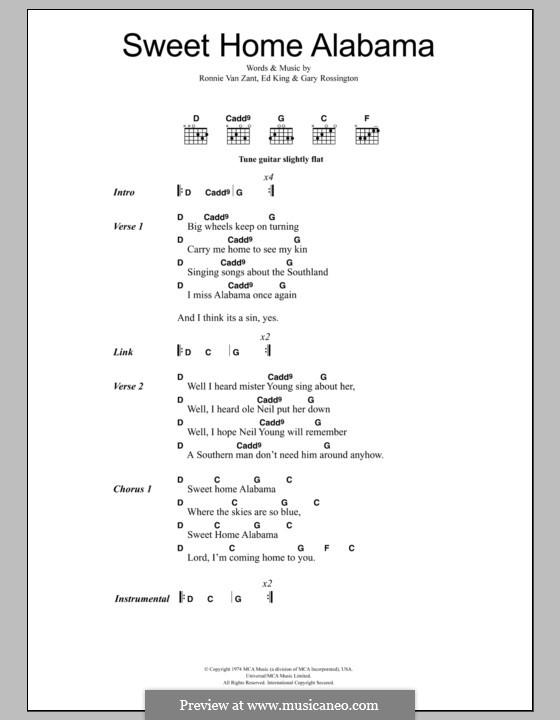 Sweet Home Alabama (Lynyrd Skynyrd): Text und Akkorde by Ed King, Gary Rossington, Ronnie Van Zant