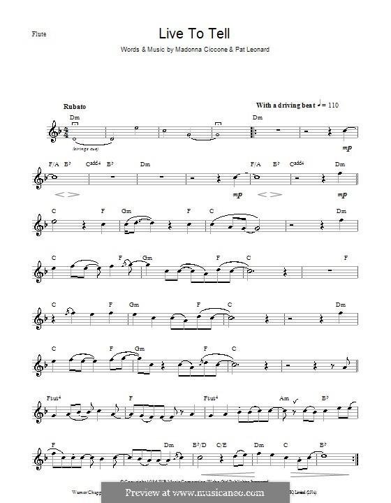 Live to Tell: Für Flöte by Madonna, Patrick Leonard