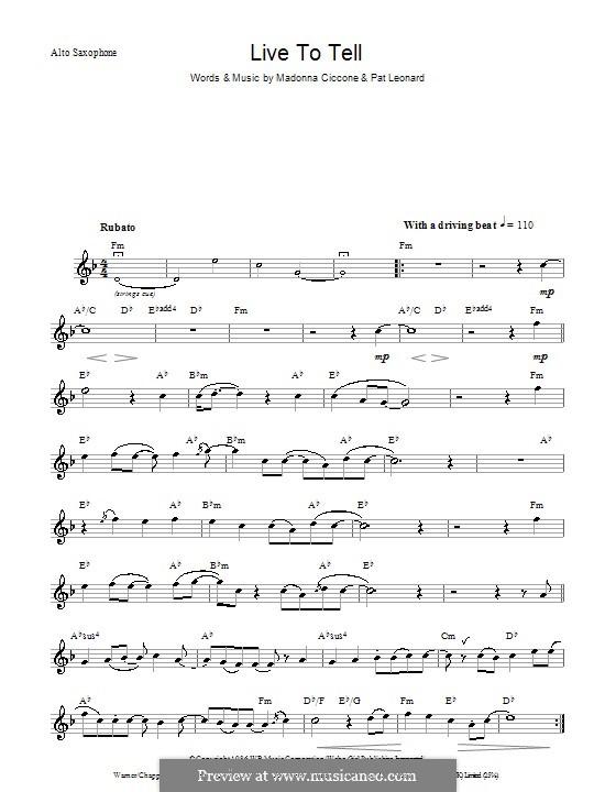 Live to Tell: Für Saxophon by Madonna, Patrick Leonard