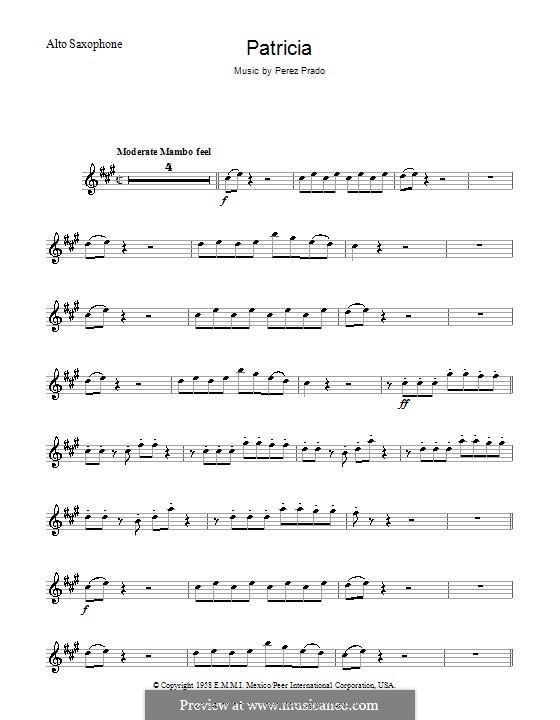 Patricia: Für Altsaxophon by Dámaso Pérez Prado