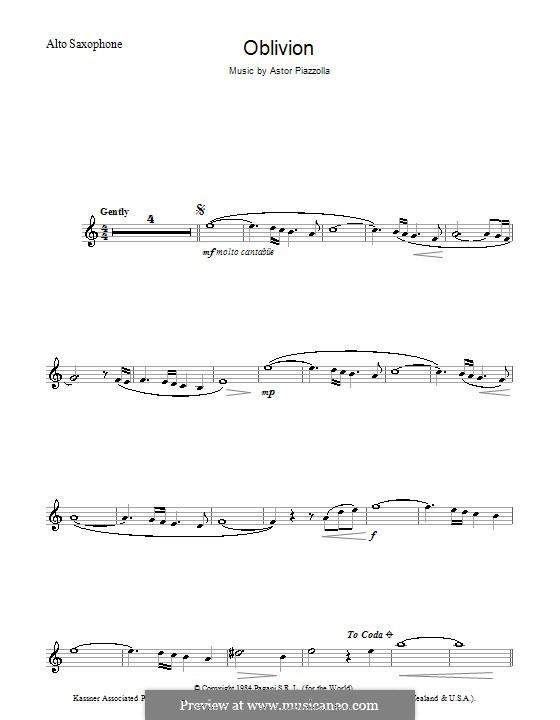 Oblivion: Für Altsaxophon by Astor Piazzolla