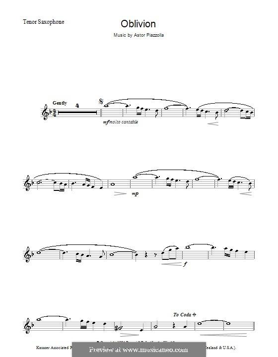 Oblivion: Für Tenorsaxophon by Astor Piazzolla