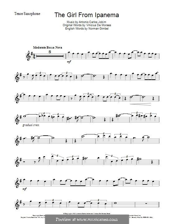 The Girl from Ipanema (Garota de Ipanema): Für Tenorsaxophon by Antonio Carlos Jobim