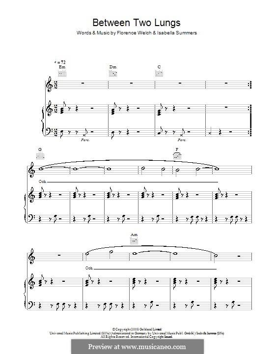 Between Two Lungs (Florence and The Machine): Für Stimme und Klavier (oder Gitarre) by Florence Welch, Isabella Summers