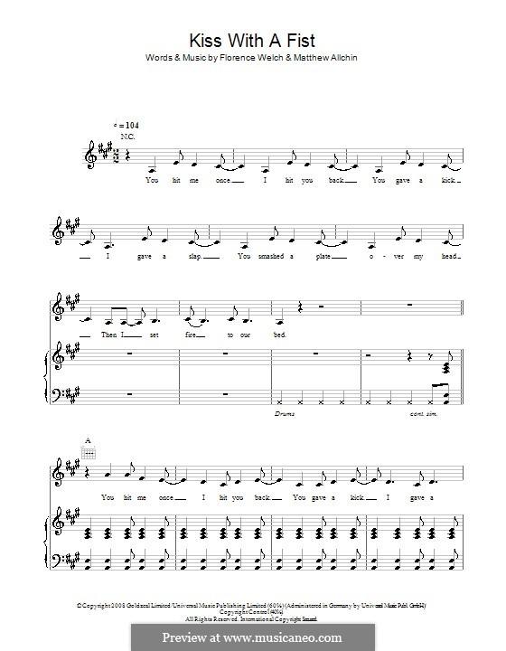 Kiss with a Fist (Florence and The Machine): Für Stimme und Klavier (oder Gitarre) by Florence Welch, Matthew Allchin