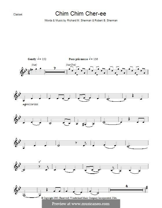 Chim Chim Cher-ee (from Mary Poppins): Für Klarinette by Richard M. Sherman, Robert B. Sherman