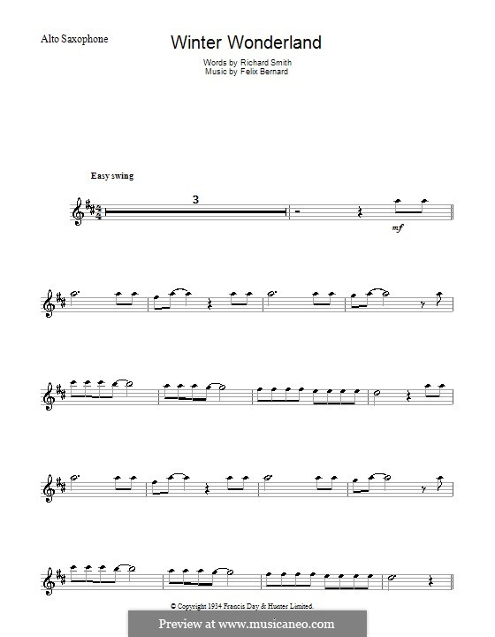 Winter Wonderland: Für Altsaxophon by Felix Bernard