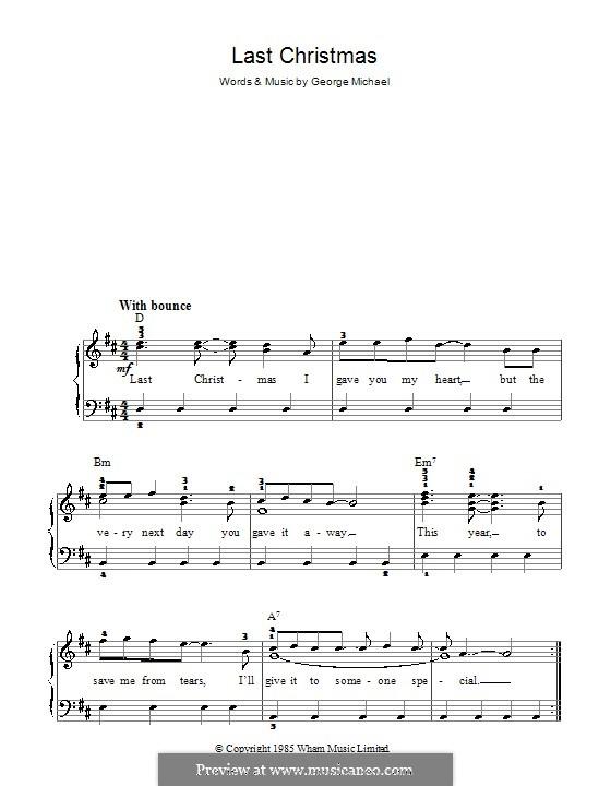 Last Christmas (Wham!): Einfache Noten für Klavier by George Michael