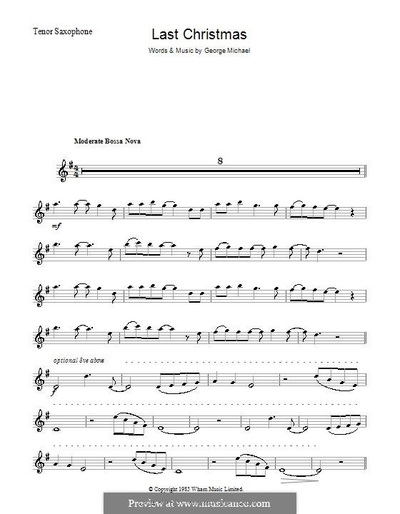 Last Christmas (Wham!): Für Tenorsaxophon by George Michael