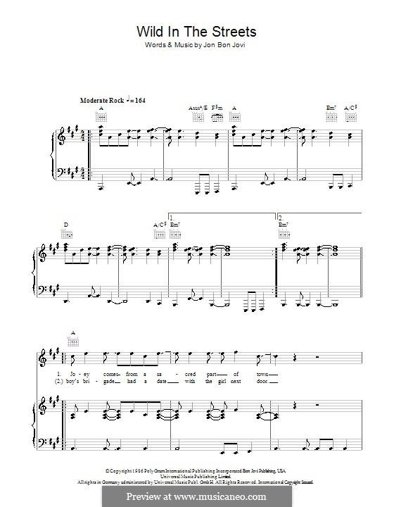 Wild in the Streets (Bon Jovi): Für Stimme und Klavier (oder Gitarre) by Jon Bon Jovi
