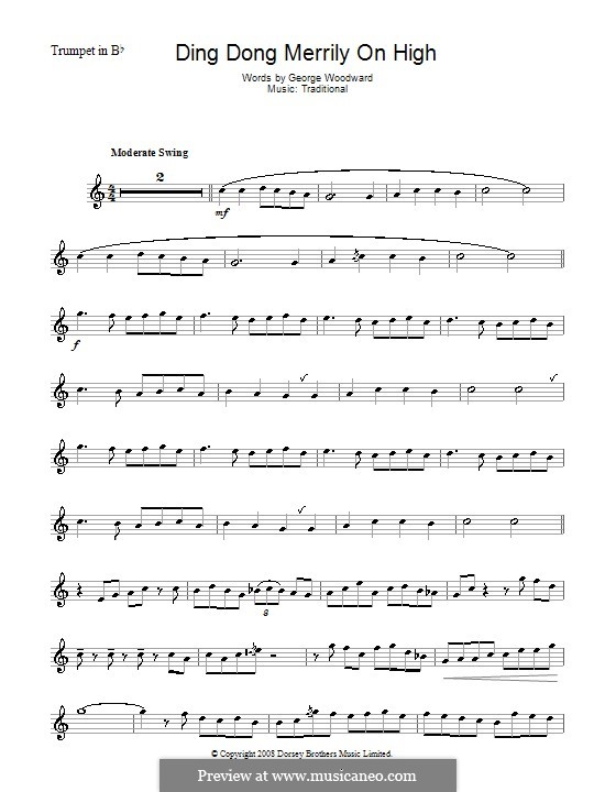 Ding Dong! Merrily on High (Printable Scores): Für Trompete by folklore