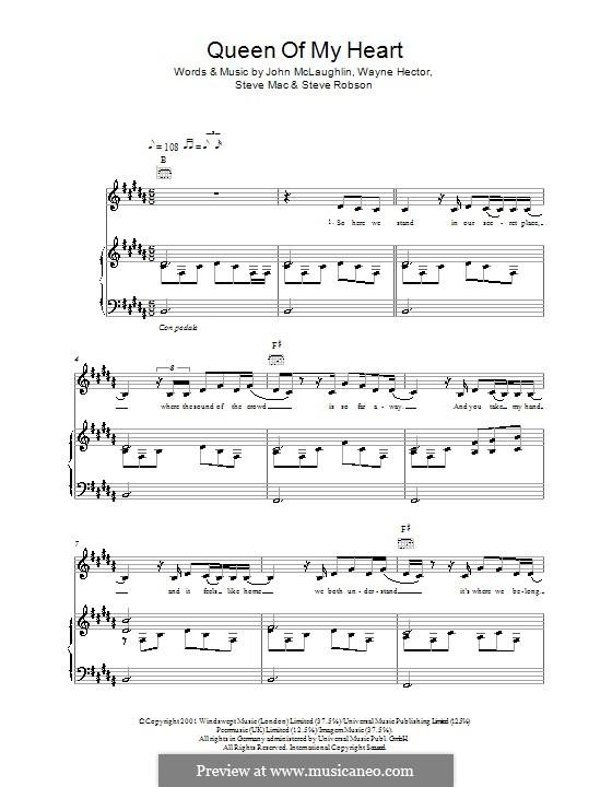 Queen of My Heart (Westlife): Für Stimme und Klavier (oder Gitarre) by John McLaughlin, Steve Mac, Steve Robson, Wayne Anthony Hector