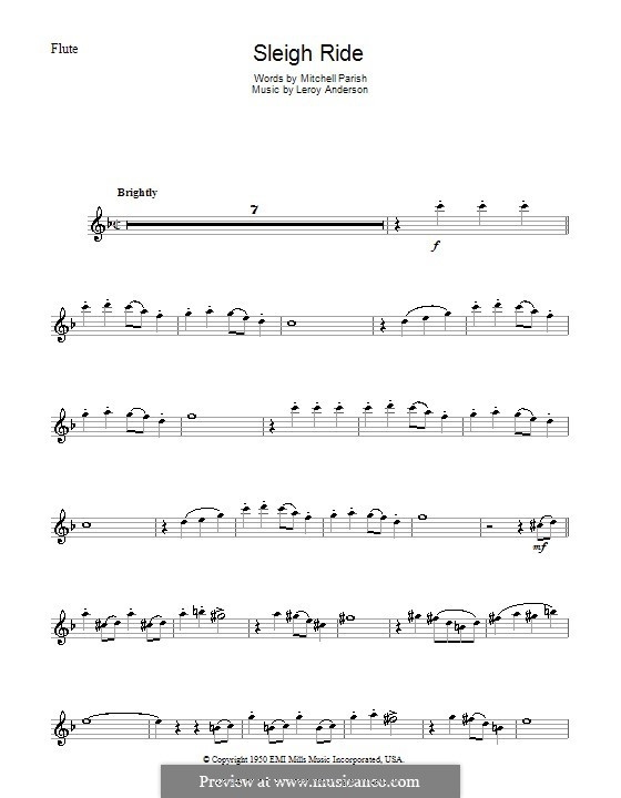 Sleigh Ride: Für Flöte by Leroy Anderson
