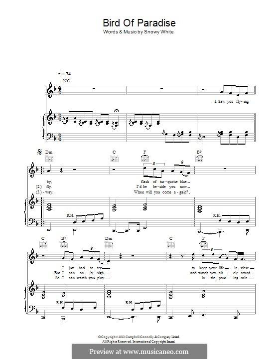 Bird of Paradise: Für Stimme und Klavier (oder Gitarre) by Snowy White