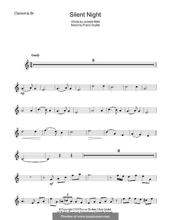 Stille Nacht (Noten zum Direktausdruck): For clarinet in B by Franz Xaver Gruber