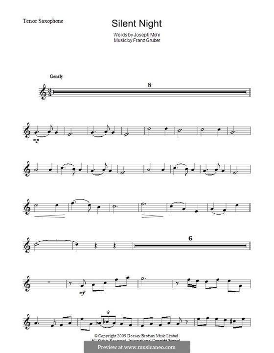 Stille Nacht (Noten zum Direktausdruck): Für Tenorsaxophon by Franz Xaver Gruber