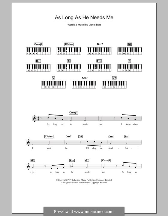 As Long as He Needs Me (from Oliver!): Für Keyboard by Lionel Bart