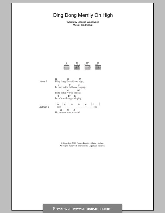 Ding Dong! Merrily on High (Printable Scores): Text und Akkorde by folklore