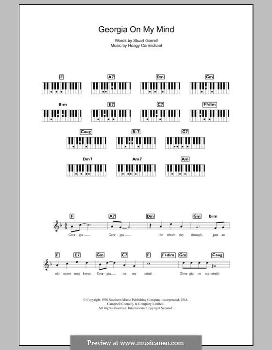 Georgia on My Mind: Für Keyboard (Ray Charles) by Hoagy Carmichael