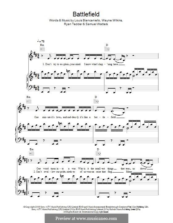 Battlefield (Jordin Sparks): Für Stimme und Klavier (oder Gitarre) by Louis Biancaniello, Ryan B Tedder, Samuel Watters, Wayne Wilkins