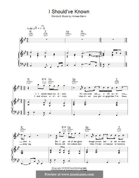 I Should've Known: Für Stimme und Klavier (oder Gitarre) by Aimee Mann