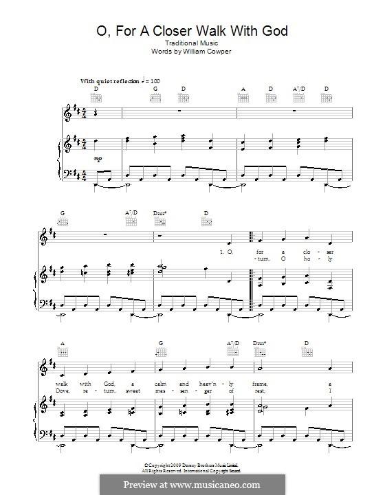 O, for a Closer Walk with God: Für Stimme und Klavier (oder Gitarre) by folklore