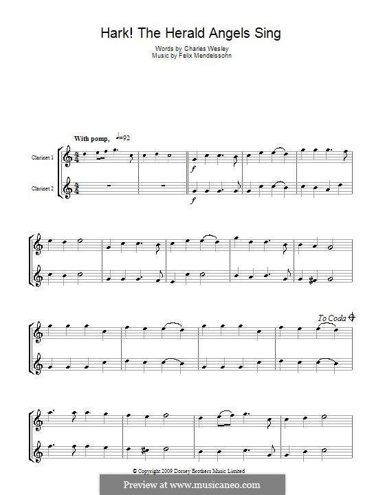 Instrumental version: Für zwei Klarinetten by Felix Mendelssohn-Bartholdy