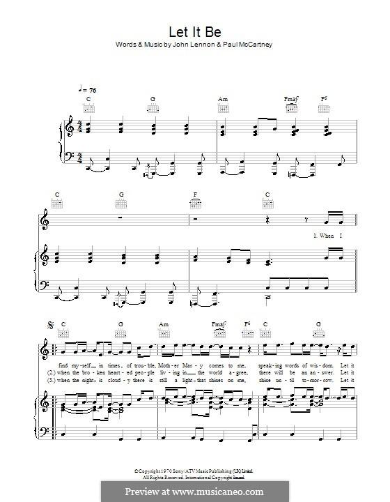 Let it Be (The Beatles): Für Stimme und Klavier oder Gitarre (Noten von hohem Qualität) by John Lennon, Paul McCartney