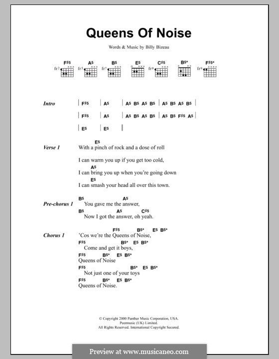 Queens of Noise (The Runaways): Text und Akkorde by Billy Bizeau