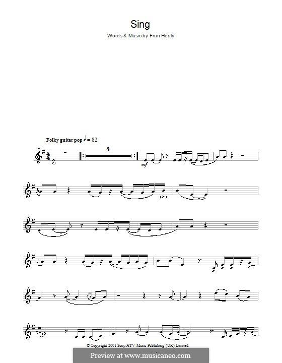 Sing (Travis): Für Altsaxophon by Fran Healy