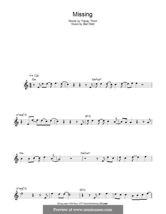 Missing (Everything But the Girl): Für Saxophon by Benjamin Watt