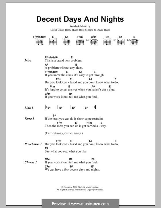 Decent Days and Nights (The Futureheads): Text und Akkorde by Barry Hyde, David Craig, David Hyde, Ross Millard