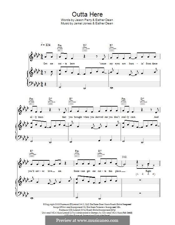 Outta Here (Esme Denters): Für Stimme und Klavier (oder Gitarre) by Esther Dean, Jamal Jones