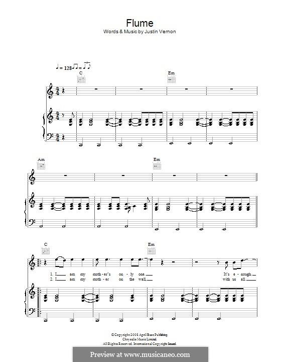 Flume (Bon Iver): Für Stimme und Klavier (oder Gitarre) by Justin Vernon