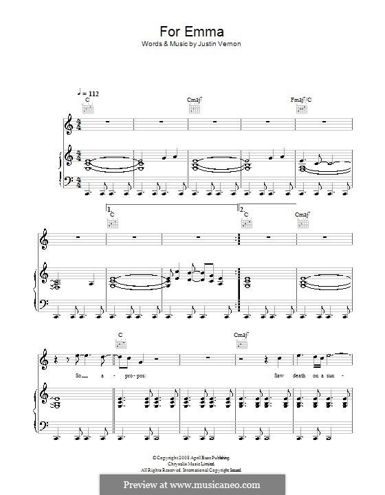 For Emma (Bon Iver): Für Stimme und Klavier (oder Gitarre) by Justin Vernon