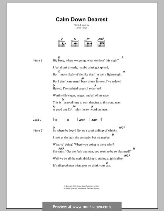 Calm Down Dearest: Texte und Akkorde by Jamie Treays