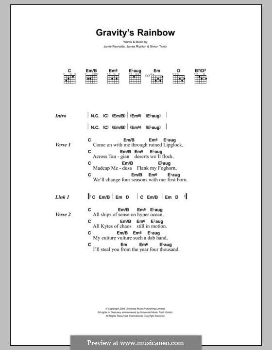 Gravity's Rainbow (Klaxons): Texte und Akkorde by James Righton, Jamie Reynolds, Simon Taylor