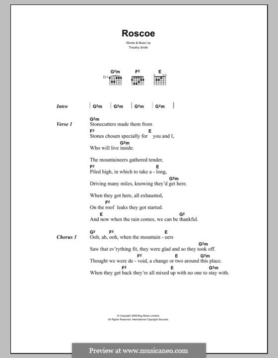 Roscoe (Midlake): Texte und Akkorde by Tim Smith