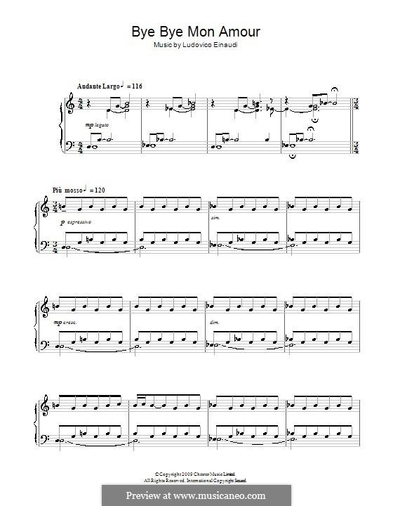 Bye bye mon amour: Für Klavier by Ludovico Einaudi