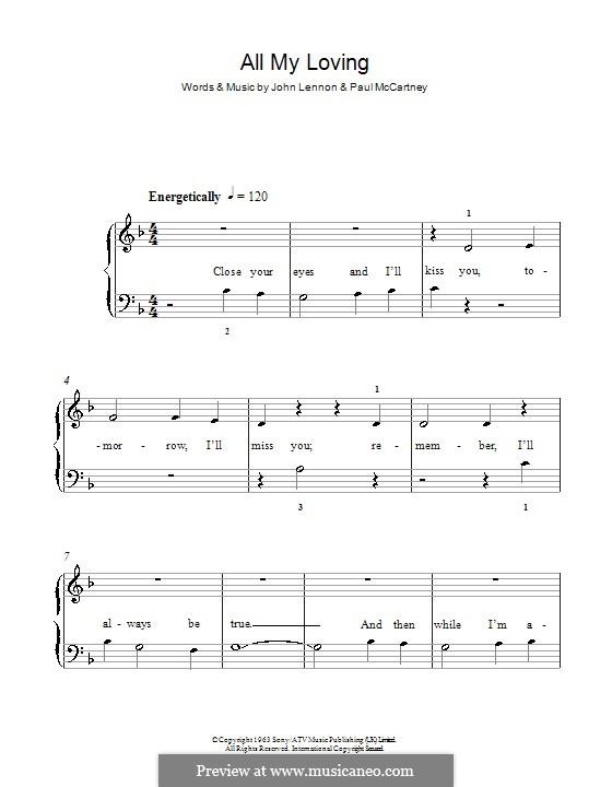 All My Loving (The Beatles): Für Klavier, leicht by John Lennon, Paul McCartney
