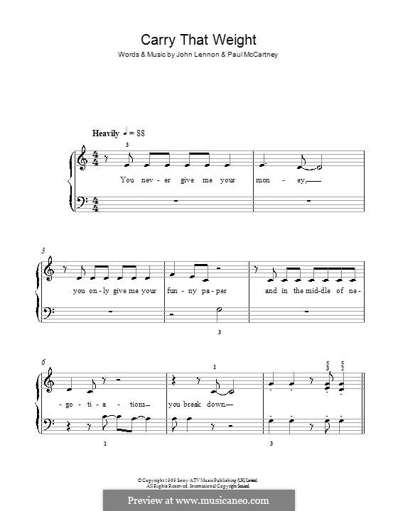 Carry That Weight (The Beatles): Für Klavier, leicht by John Lennon, Paul McCartney